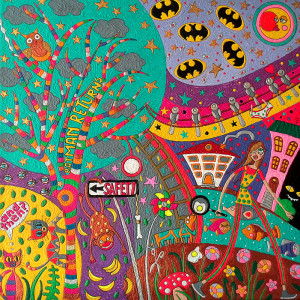 Batman returns again, Berlin 2013, Acryl on canvas, 40 x 40 cm