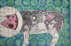 Mechanical Pig, 2013, Oil on canvas, 90 x 60 cm