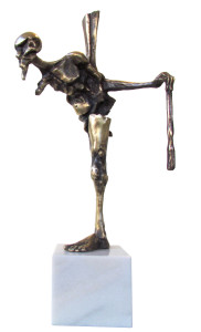 The-Time-Stricken-Man-2, 2014, Bronze with marble base, Edition of 7, 19x51x18 cm
