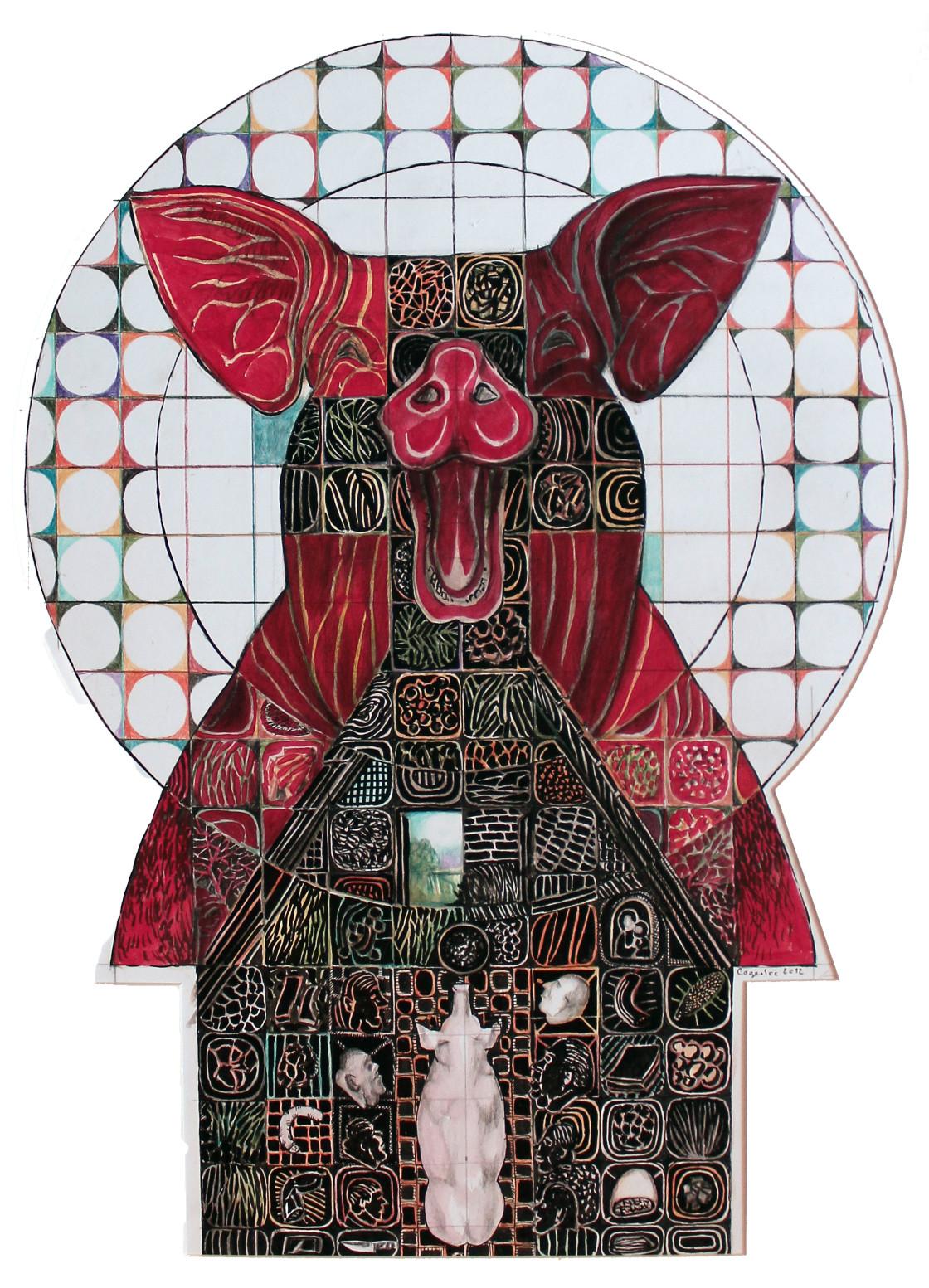 Aurel Gheorghiu Cogealac, Totem 3, 2012, Mixed Media, 72x56 cm, mit freundlicher Genehmigung des Künstlers